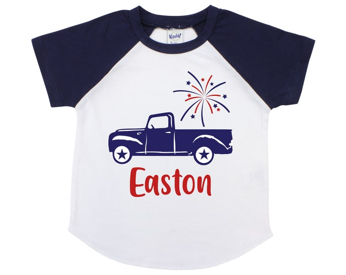 Boy 4th of July Truck Shirt with Fireworks Personalized Old Blue Truck Fourth of July Memorial Day Boy Shirt Name Monogram Red Blue