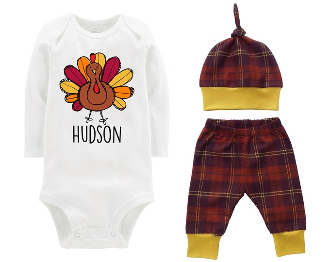 Boy Thanksgiving Outfit Personalized Scribble Turkey Fall Baby Outfit Fall Plaid Knot Hat Turkey Rust Mustard Pants Boyish Thanksgiving