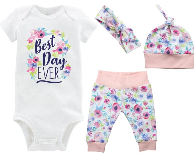 Best Day Ever Onesie Girl Going Home Set Onesie Newborn Coming Home Watercolor Floral Yoga Leggings Top Knot Hat Headband Infertility Onesie