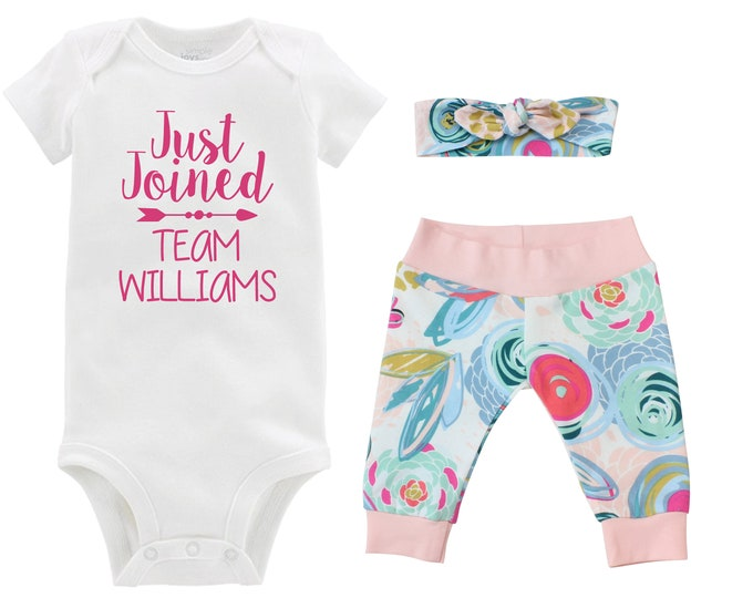 Girl Going Home Outfit Just Joined Team Newborn Baby Infant Set Blue Pink Floral Yoga Leggings Headband Pastel Floral Infant Gift Set