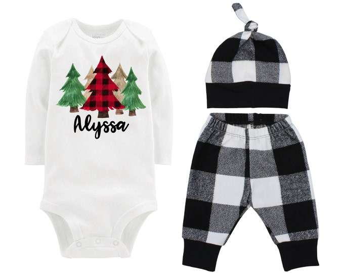 Girl Christmas Buffalo Plaid Christmas Pine Trees Personalized Outfit White Buffalo Plaid Flannel Girl Flannel Pant Infant Winter Outfit
