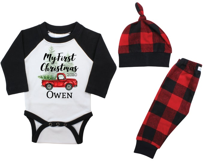 Boy My First Christmas 2020 Personalized Raglan Outfit Old Red Truck Christmas Tree Bodysuit Buffalo Flannel Pants Winter Red Plaid Pants