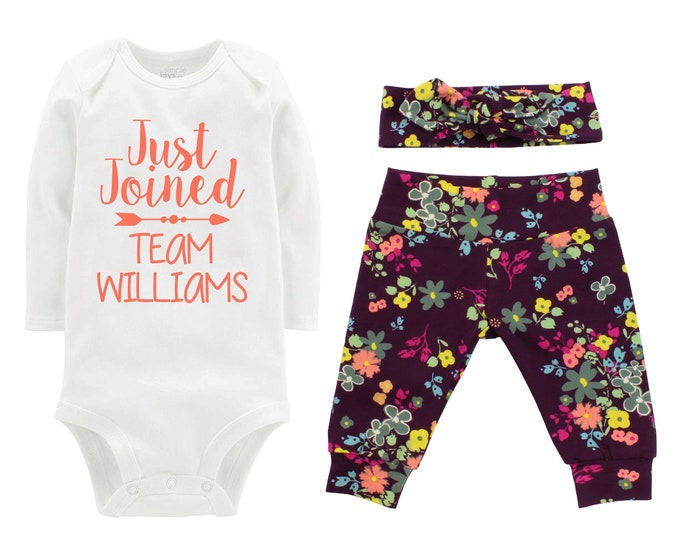 Fall Just Joined Team Personalized Going Home Outfit Plum Mustard Coral Green Blue Floral Yoga Leggings Headband Infant Outfit Last Name