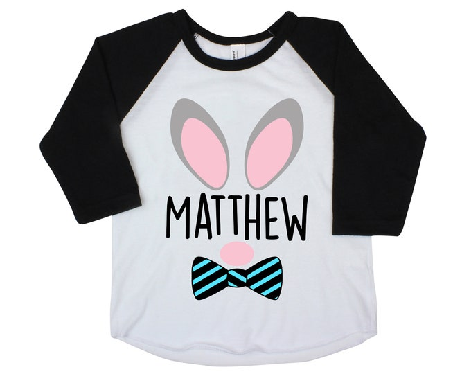 Bunny Ears Boy Easter Shirt Personalized Bow Tie Bunny Shirt Raglan Baby Easter Bodysuit Bunny Name Shirt Boy Bunny Face Shirt