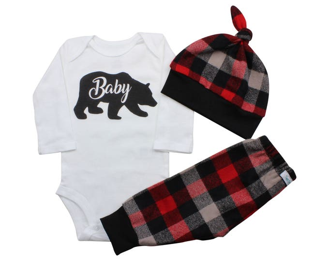 Baby Bear Bodysuit Buffalo Plaid Pants Winter Baby Outfit Boy Red Black Buffalo Plaid Baby Bear Shirt Baby Bear Outfit Warm Winter Outfit