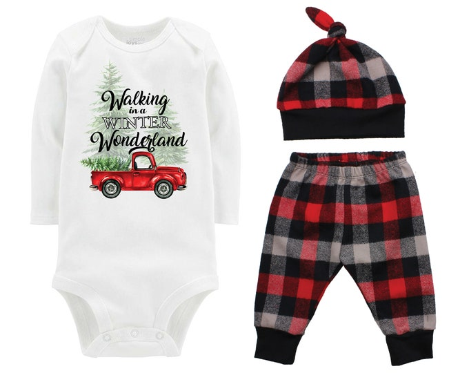 Christmas Tree Truck Bodysuit Buffalo Plaid Pants Winter Baby Outfit Boy Red Black Buffalo Plaid Walking in a Winter Wonderland Song Shirt