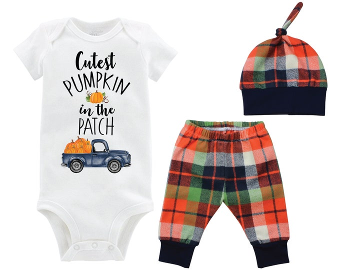 Boy Cutest Pumpkin in the Patch Fall Truck Shirt Outfit Onesie Bodysuit Fall Pumpkin Outfit Fall Plaid Pants Leggings Baby Gift Top Knot Hat