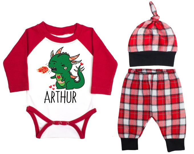 Baby Boy Valentine's Day Dragon Personalized Raglan Outfit Boy Valentines Day Hearts Dragon Bodysuit Baby Boy Buffalo Plaid Flannel Pants