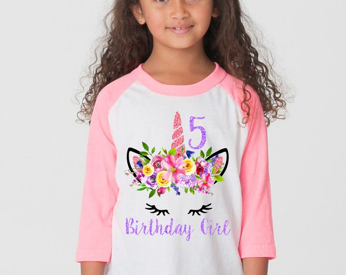 Unicorn Birthday Shirt Watercolor Floral Unicorn Spring Unicorn Raglan Shirt Pink Purple Bright Unicorn Flowers Birthday Unicorn