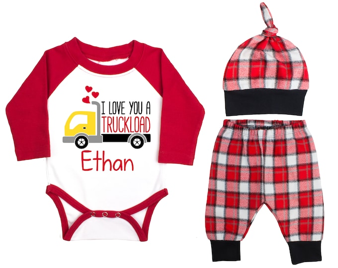 Baby Boy Valentine's Day Truck Personalized Raglan Outfit Boy Valentines Day I Love You a Truckload Bodysuit Boy Buffalo Plaid Flannel Pants