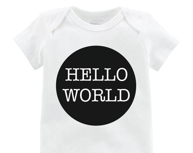 Boy Hello World Onesie Black Hello World Bodysuit Boy Coming Home Onesie Newborn Coming Home Bodysuit Hello World Boy Shirt Boy Newborn