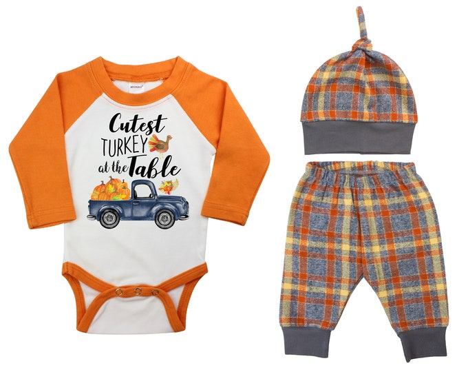 Cutest Turkey At The Table Truck Outfit Fall Boy Raglan Outfit Fall Plaid Pants Knot Hat Pumpkins Old Truck Gray Orange Flannel Baby Raglan