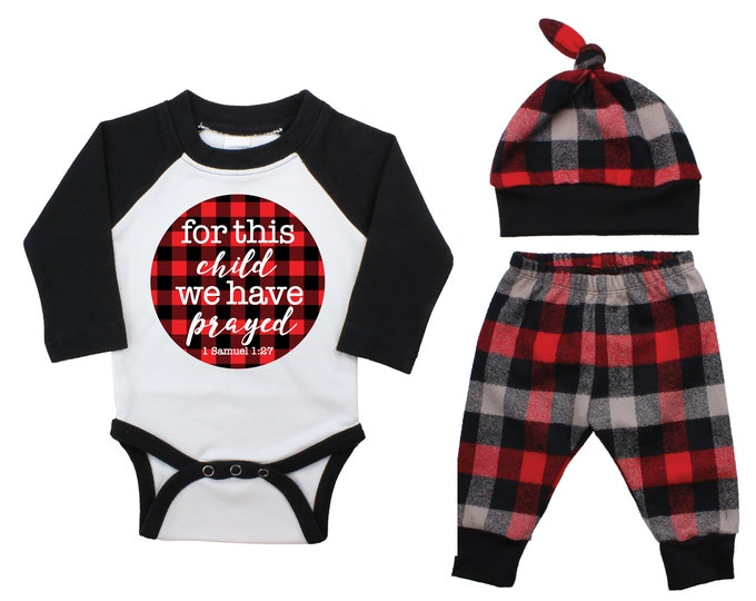 Boy For this Child We Have Prayed Coming Home Outfit Going Home Raglan Outfit Red Buffalo Plaid Pants Fall Baby Buffalo Check Infertility
