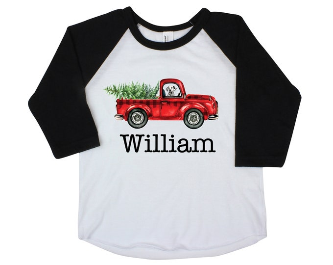 Boy Christmas Shirt Red Truck Buffalo PLAID Christmas Tree Personalized Raglan Old Red Truck Dog Shirt Boy Toddler Baby Youth Shirt Black