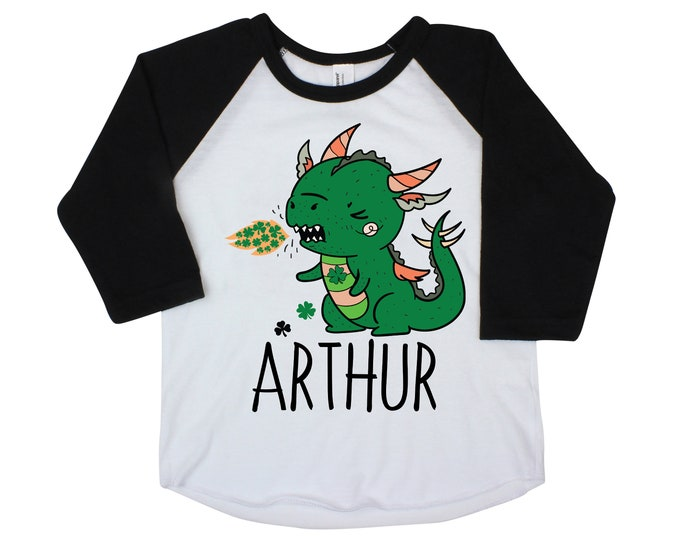 Shamrock Dragon Boy St. Patrick's Shirt Personalized Raglan Boy Toddler Baby Shirt Boy Saint Patrick's Shirt Monogram Four Leaf Clover