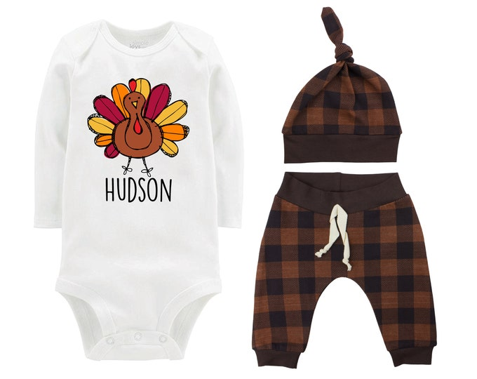 Personalized Thanksgiving Turkey Brown Plaid Cute First Thanksgiving Bodysuit Infant Gift Set Boy Coming Home Outfit Turkey Chocolate