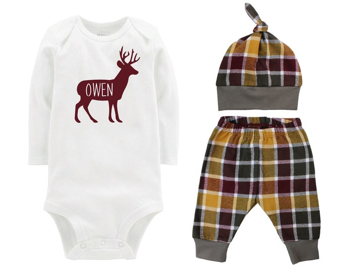 Deer Fall Personalized Outfit Plaid Buck Stag Forest Silhouette Maroon Mustard Green Flannel Pants Baby Bodysuit Shirt Gift Top Knot Hat