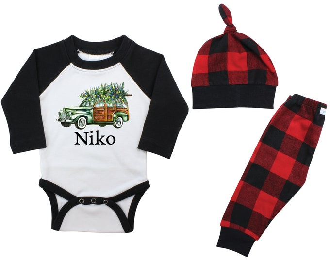 Boy Christmas Outfit Personalized Old Green Car Christmas Tree Lights Raglan Outfit Boy Flannel Pants Winter Boy Red Black Buffalo Plaid