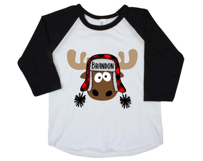 Boy Christmas Moose Personalized Raglan Buffalo Plaid Moose with Name Crazy Moose Boy Christmas Shirt Holiday Shirt Winter Shirt Funny