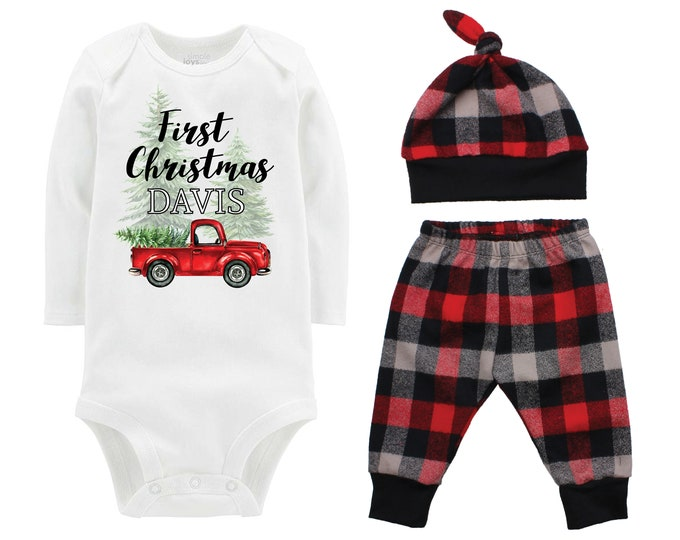 Boy First Christmas Outfit Personalized Old Red Truck Christmas Tree Bodysuit Buffalo Plaid Pants Winter Boy Red Black Buffalo Plaid