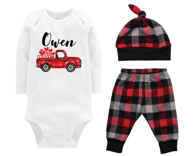 Boy Valentine's Day Outfit Personalized Old Red Truck Red Gray Buffalo Plaid Pants Hat Boyish Valentine Bodysuit Valentine Truck With Hearts