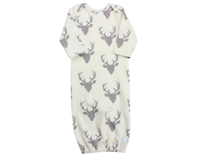 Ivory Gray Buck Deer Newborn Baby Boy Gown Navy Deer Gown Gray Deer Boy Infant Gown Newborn Gown Going  Home Outfit Boy Clothing Boy Infant