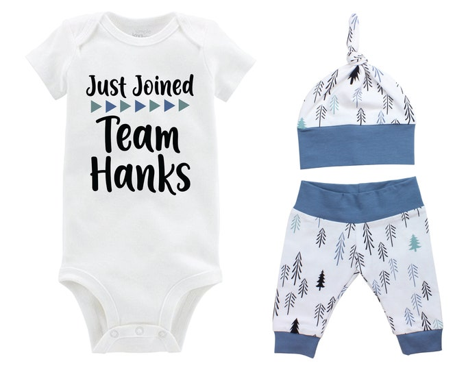 Boy Just Joined Team Last Name Personalized Coming Home Outfit Pine Trees Infant Gift Going Home Baby Shower Blue Black Teal Boyish Outfit