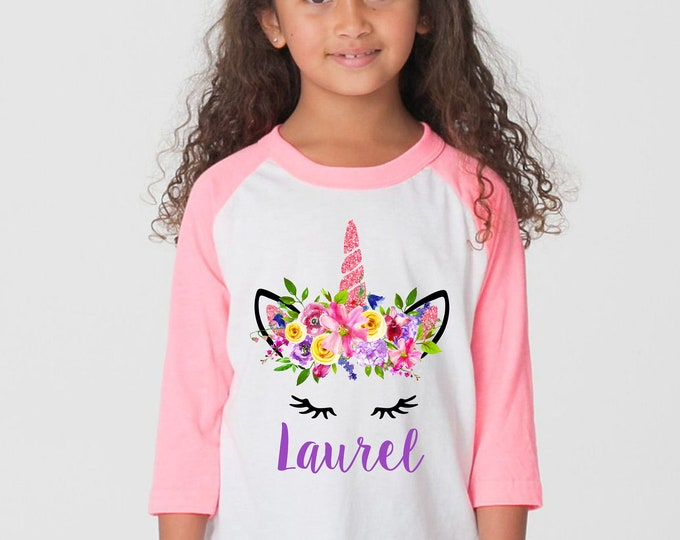 Watercolor Floral Unicorn Spring Unicorn Valentine Unicorn Personalized Name Shirt Valentine Raglan Shirt Pink Purple Bright Unicorn