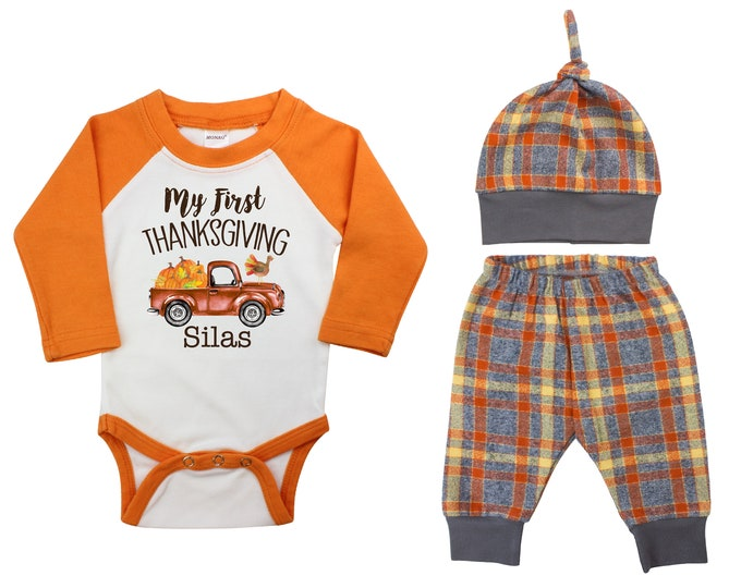My First Thanksgiving Truck Personalized Outfit Fall Boy Raglan Outfit Fall Plaid Pants Knot Hat Pumpkins Old Truck Gray Orange Baby Raglan