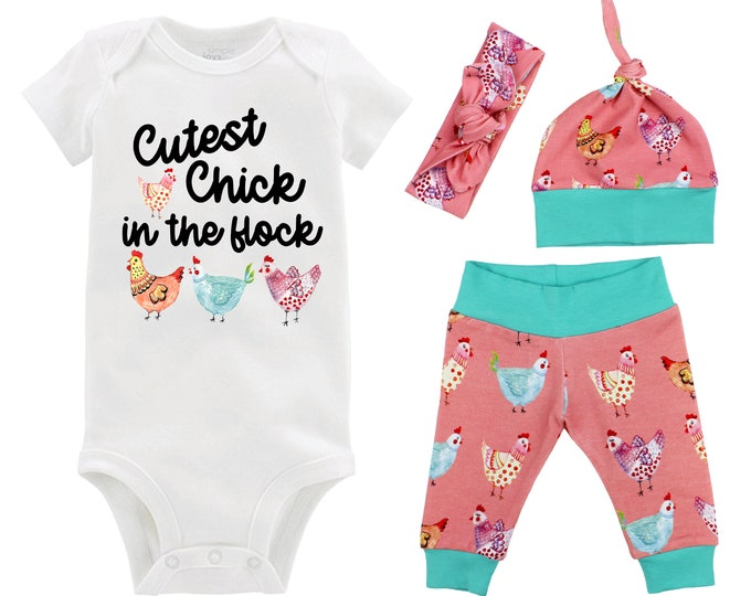 Cutest Chick In The Flock Baby Girl Coming Home Outfit Chicken Baby Outfit Going Home Yoga Leggings Knot Hat Headband