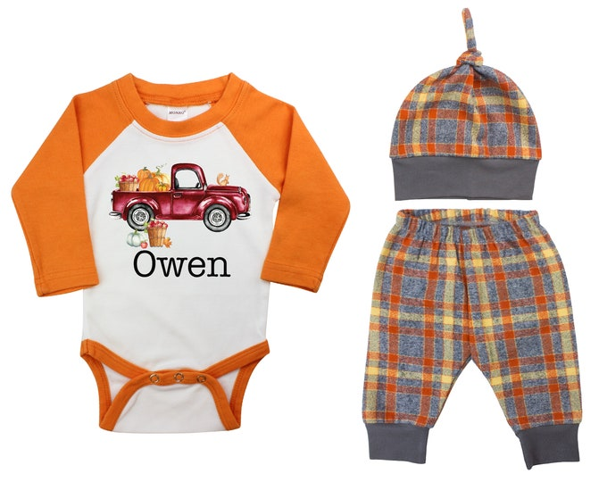 Personalized Pumpkin And Apple Truck Outfit Fall Baby Raglan Apple Orchard Plaid Pants Knot Hat Pumpkins Old Truck Orange Gray Baby Raglan