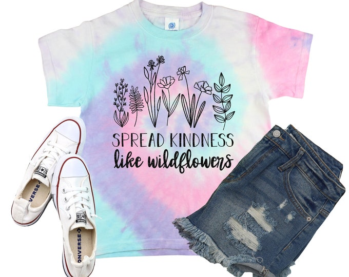 Spread Kindness Like Wildflowers Unicorn Tie Dye Shirt Galaxy Bright Black Glitter Vinyl Shirt Girl Tie Dye Shirt
