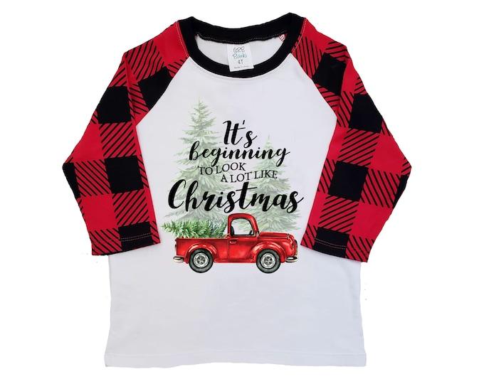 Boy Christmas Shirt Red Truck Christmas Tree Buffalo Plaid Raglan Old Red Truck Boy Toddler Baby Shirt Red Black Beginning to Look Like Xmas