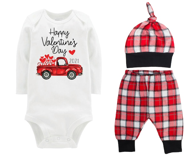 Happy Valentine's Day 2021 Truck Personalized Outfit Boy Valentines Day Bodysuit Hearts Vintage Truck Buffalo Plaid Flannel Pants