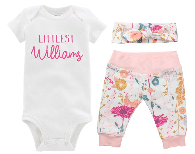 Girl Going Home Newborn Outfit Littlest Last Name Baby Infant Set White Pink Floral Yoga Leggings Knot Headband Flower Infant Gift Set