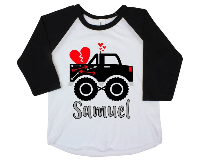 Valentine Monster Truck Boy Valentine's Shirt Personalized Raglan Boy Toddler Baby Shirt Red Black Boy Valentine's Shirt Monogram