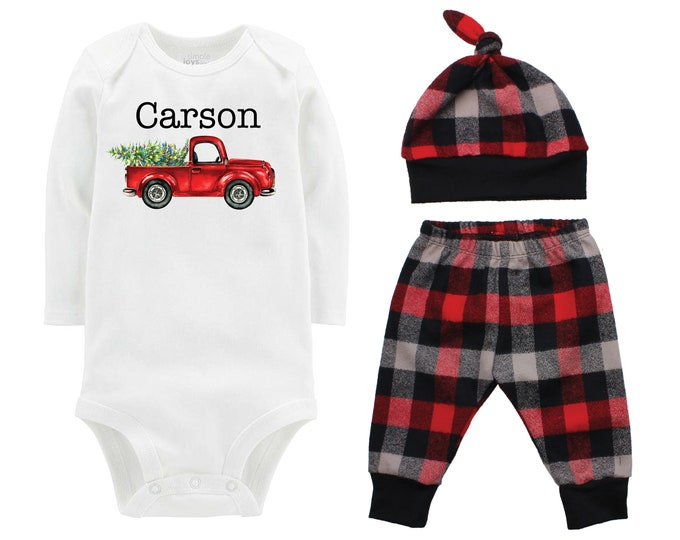 Boy Christmas Outfit Personalized Old Truck Christmas Tree Lights Bodysuit Buffalo Plaid Pants Winter Boy Red Black Gray Buffalo Plaid