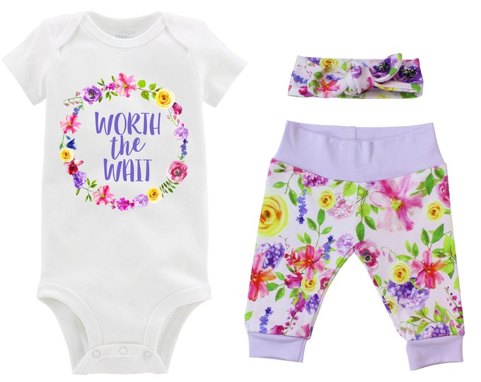 Worth the Wait Girl Going Home Outfit Newborn Baby Infant Set Watercolor Floral Yoga Leggings Headband Infertility Gift Set Baby Shower Gift