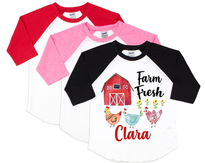 Farm Fresh Watercolor Barn Chickens Girl Shirt Black Red Pink Raglan Personalized Name Watercolor Chickens Cute Girl Birthday Sister Shirt
