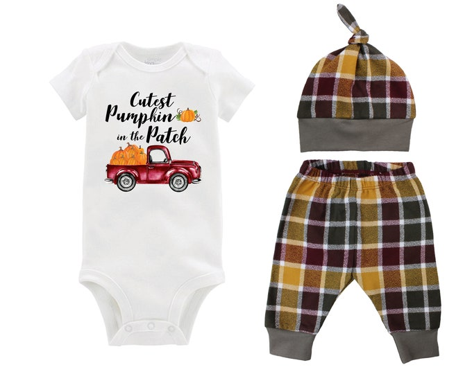 Boy Cutest Pumpkin in the Patch Fall Truck Shirt Outfit Bodysuit Pumpkin Plaid Maroon Mustard Green Flannel Pants Baby Gift Top Knot Hat