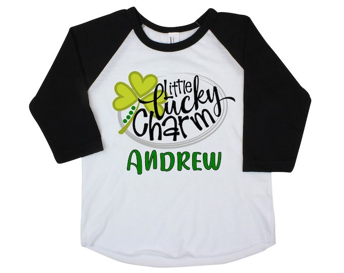 Little Lucky Charm Boy St. Patricks Day Shirt Raglan St. Patty's Day Clover Lucky Green Truck Shirt Toddler Kids Baby Raglan Bodysuit Boy