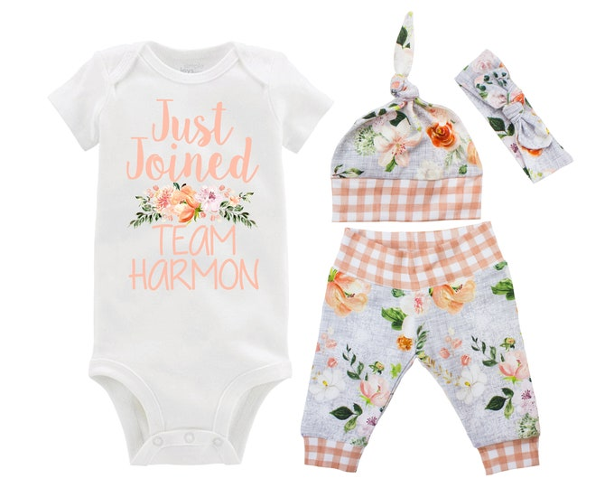 Girl Going Home Outfit Just Joined Team Newborn Baby Infant Set Wedding Floral Yoga Leggings Headband Floral Infant Gift Set