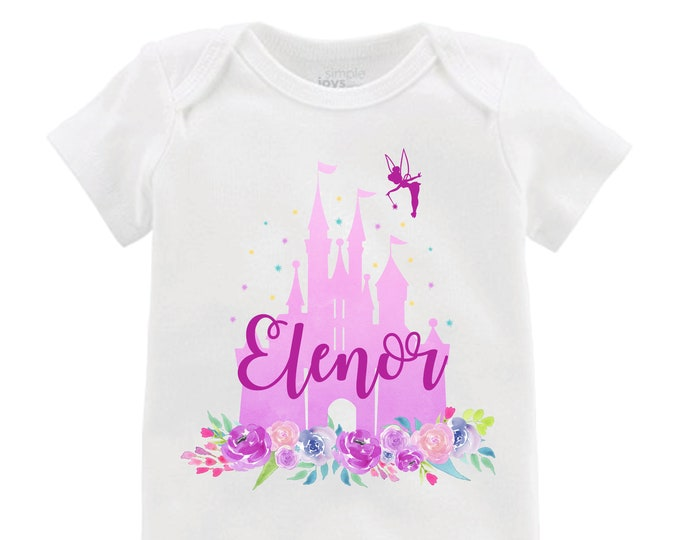 Purple Cinderella Castle Floral bodysuit Personalized Tinker Bell Flutter Sleeve Raglan Birthday Shirt Girl Shirt Monogram Flowers Pi