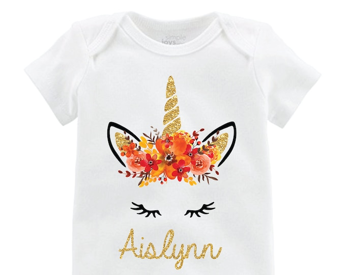 Fall Unicorn Face Flutter Shirt Personalized Onesie Flutter Sleeve Unicorn Black Raglan Birthday Shirt Girl Shirt Monogram Gold Fall Floral