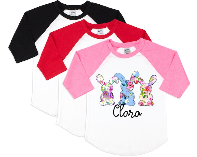 Girl Easter Shirt Easter Bunny Shirt Floral Easter Bunnies Friend Girl Shirt Pink Red Black Baby Youth Teen Raglan Shirt