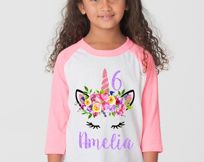 Unicorn Birthday Shirt Personalized Name Watercolor Floral Unicorn Spring Unicorn Raglan Shirt Pink Purple Bright Unicorn Flowers