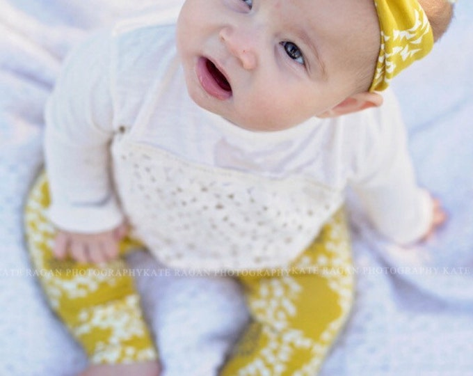 Mustard Floral Baby Top Knot Headband Yellow Floral Adult Knot Headband Baby Headwrap Adult Headwrap Knotted Headband Knotted Headwrap