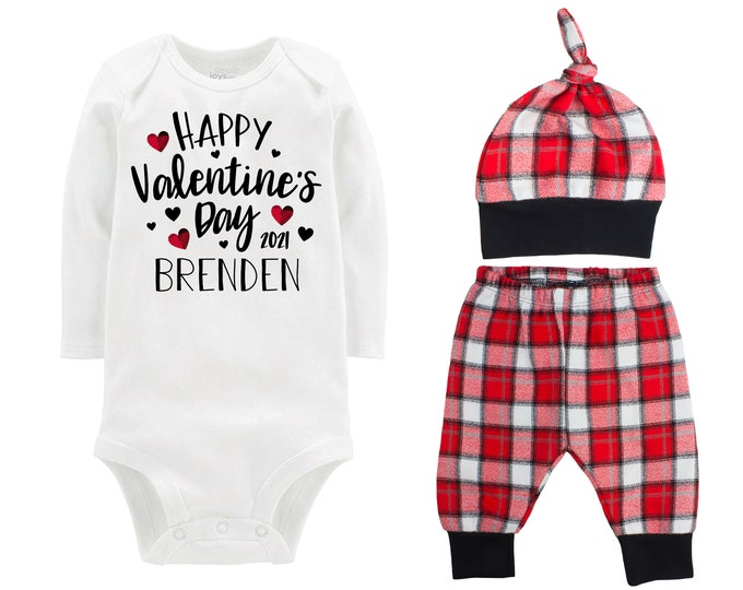 Happy Valentine's Day 2021 Plaid Hearts Personalized Outfit Love Boy Valentines Day Bodysuit Hearts Buffalo Plaid Flannel Pants