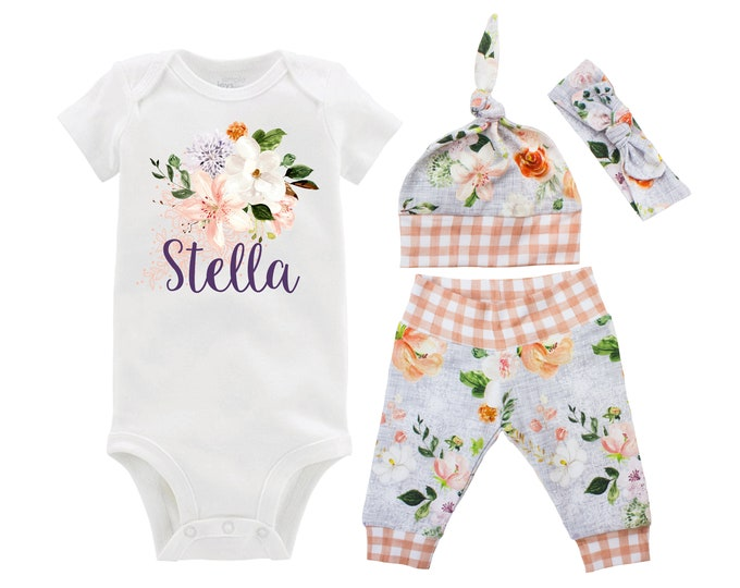 Personalized Newborn Going Home Outfit Girl Baby Name Orange Gray Wedding Floral Gingham Yoga Pants Knot Headband Infant Gift Set Monogram