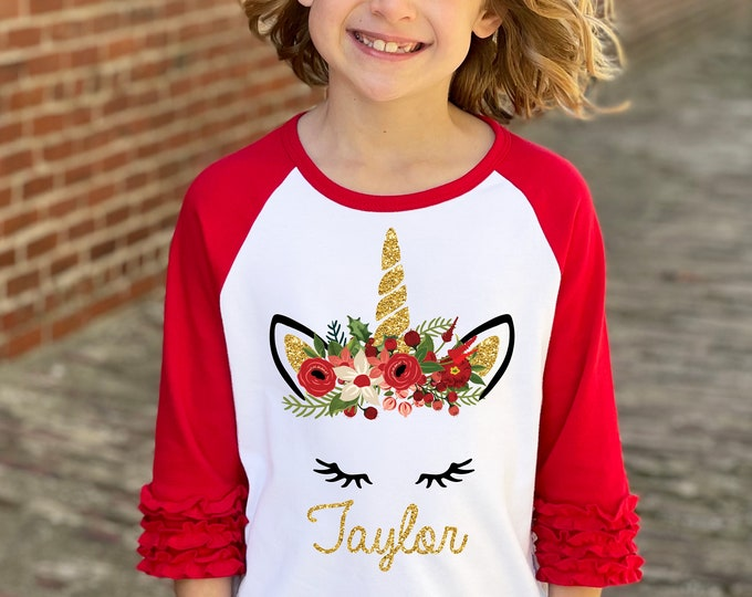 Girl Unicorn Christmas Shirt Gold Glitter Unicorn Red Watercolor Floral Personalized Christmas Red Ruffle Raglan Christmas Holly Berries
